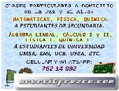 Ingeniera da clases a domicilio de Matemáticas - Física - Química - Cálculo todos los niveles